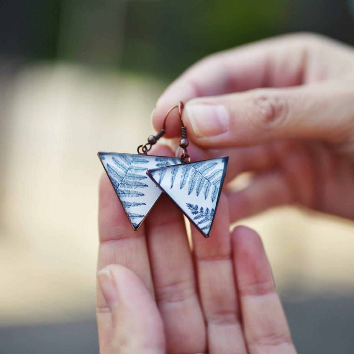Náušnice triangle kapradí