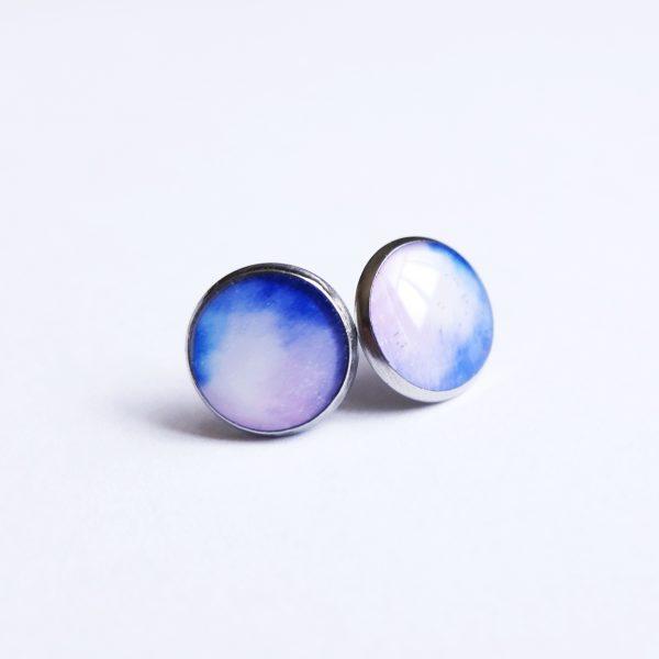 náušnice duhové fialové