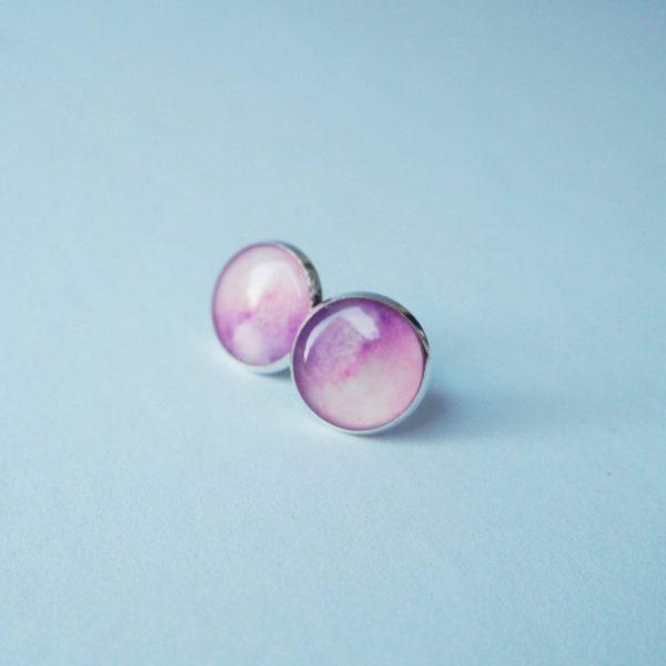 Náušnice pecky duhové růžové