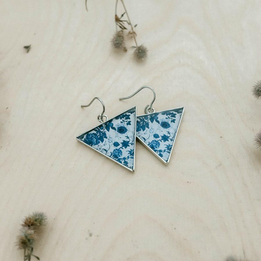 Náušnice triangle modré kytičky